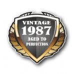 1987 Year Dated Vintage Shield Retro Vinyl Car Motorcycle Cafe Racer Helmet Car Sticker 100x90mm